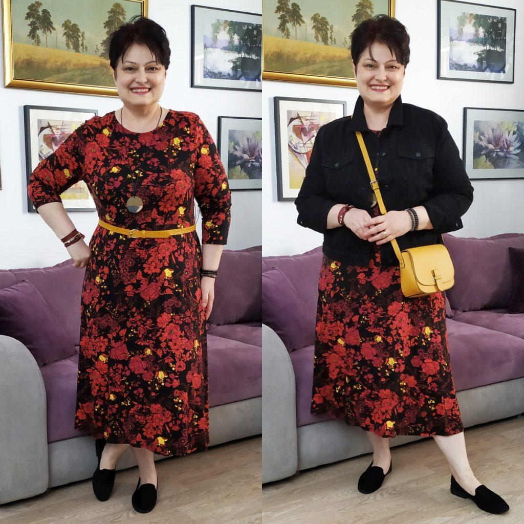 rochie înflorată şi geacă de blugi neagră Dorothy Perkins