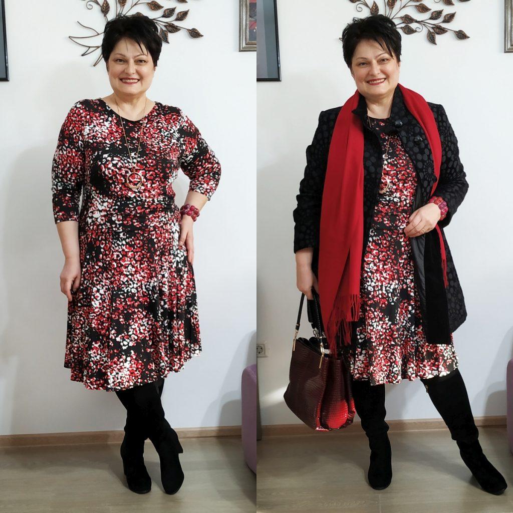 rochie de jerse si jachetă Roman
