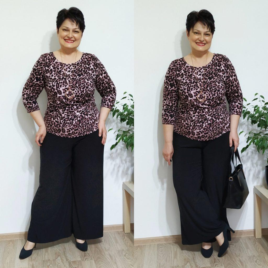 bluză animal print şi pantaloni de jerse Roman