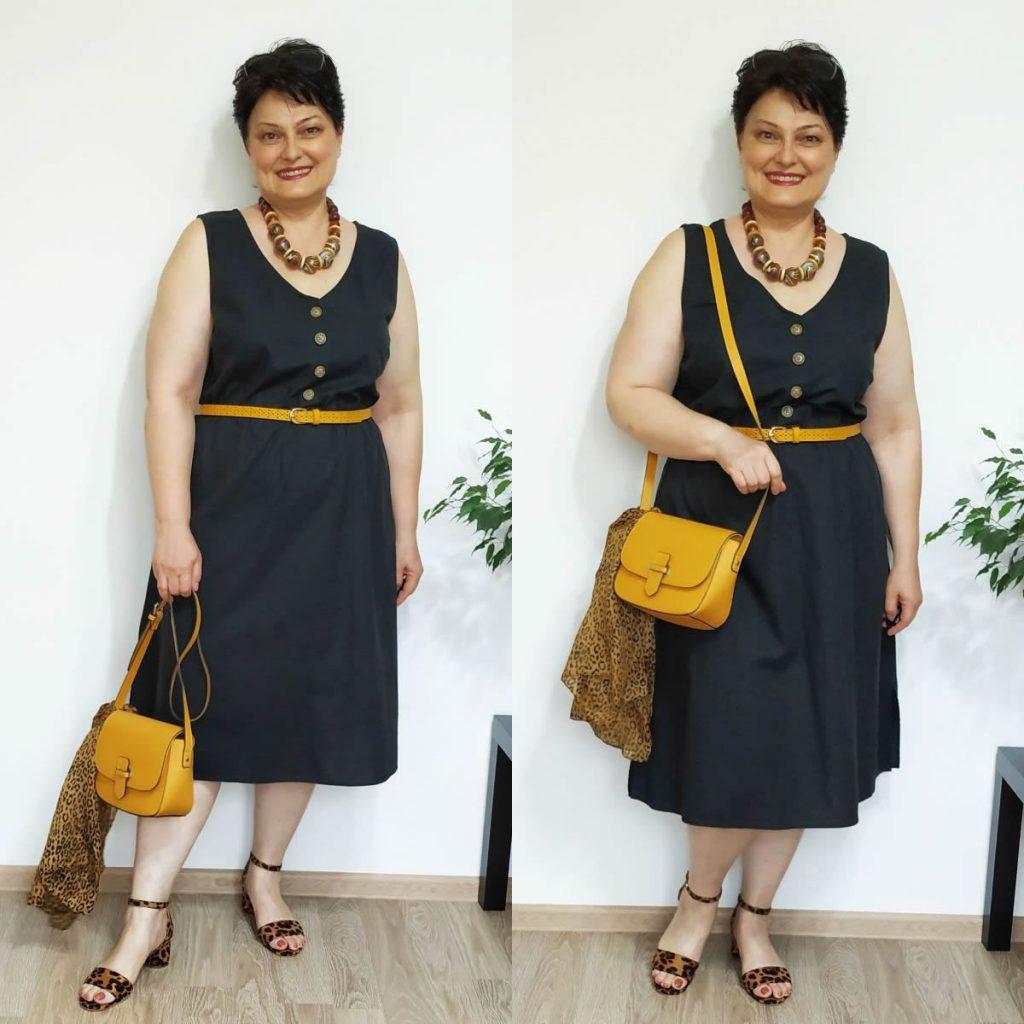 rochie neagra, accesorii galbene