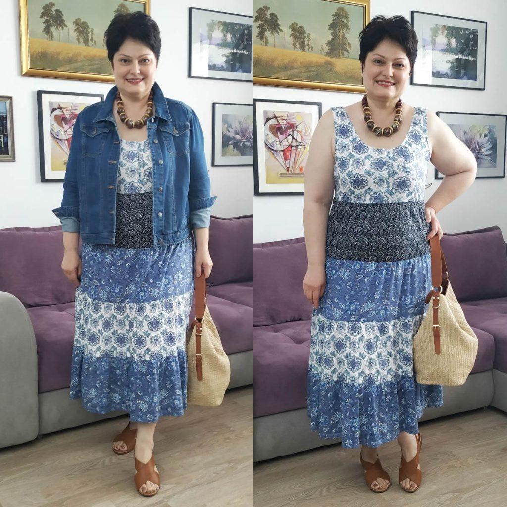 rochie cu flori Bonprix şi geacă de blugi Roman
