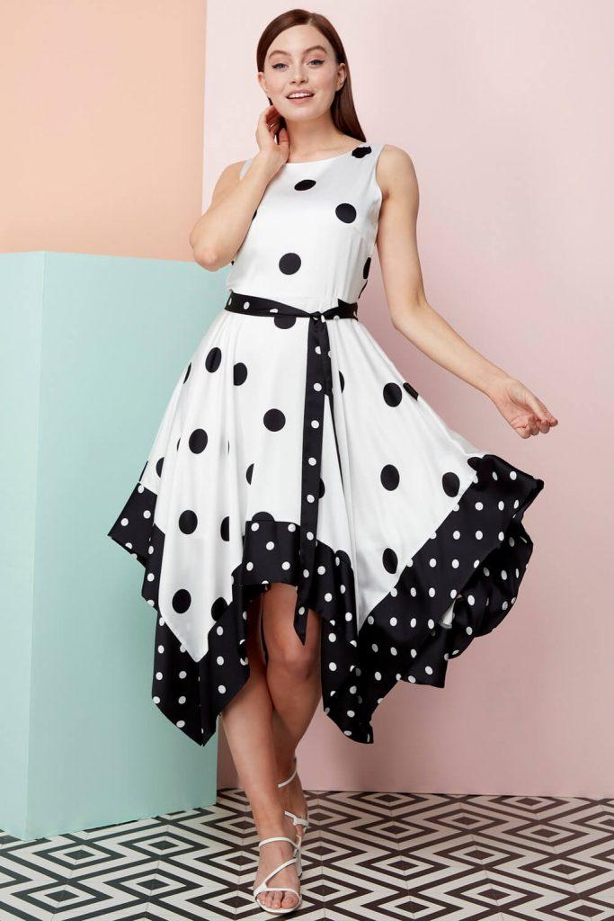 rochie alb cu negru Roman
