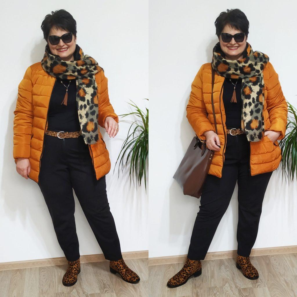jachetă portocalie şi fular leopard print Roman