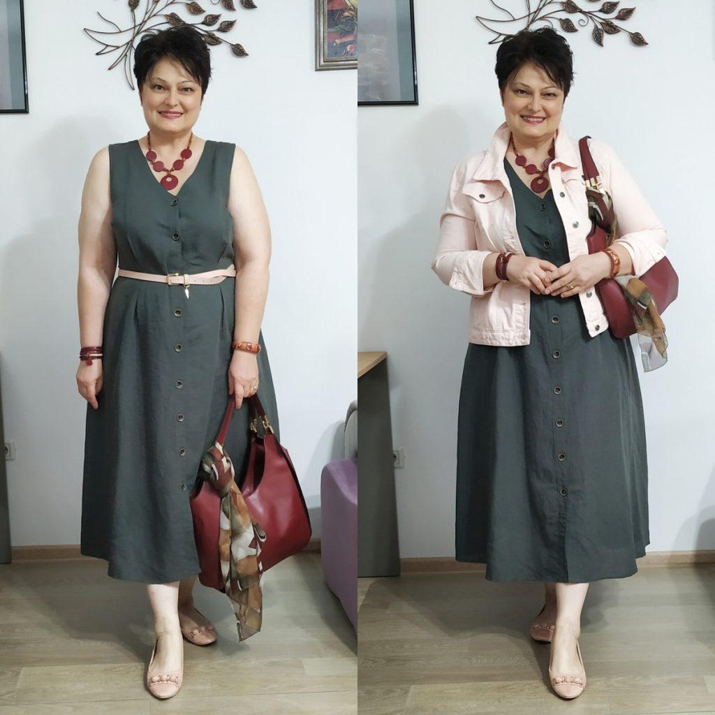 rochie de in şi geaca de blugi roz Roman