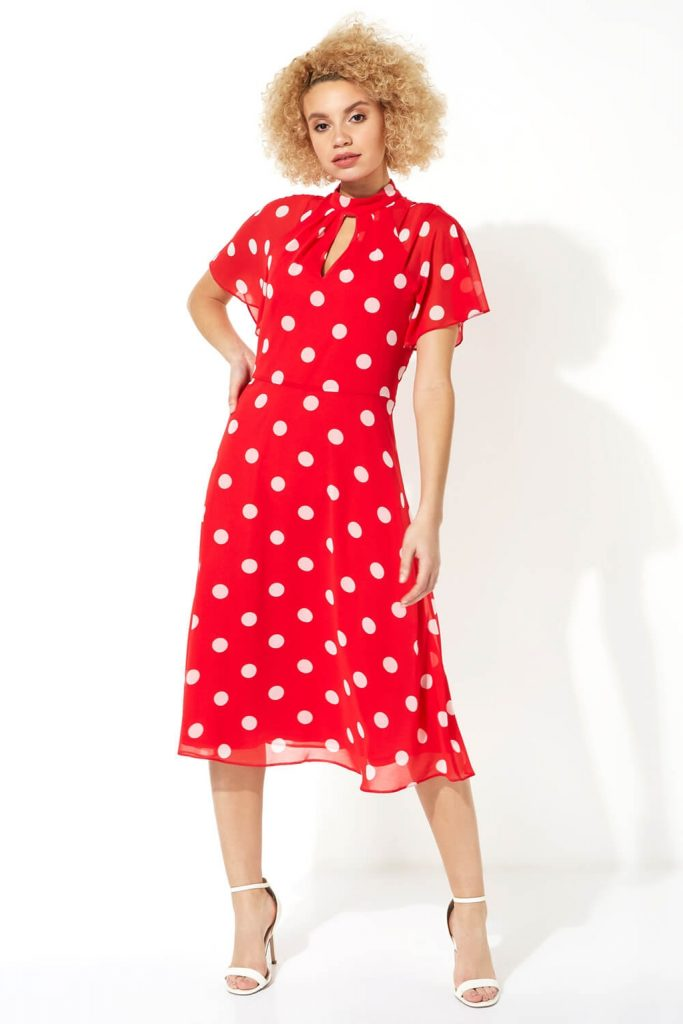 rochie rosie cu buline Roman Originals