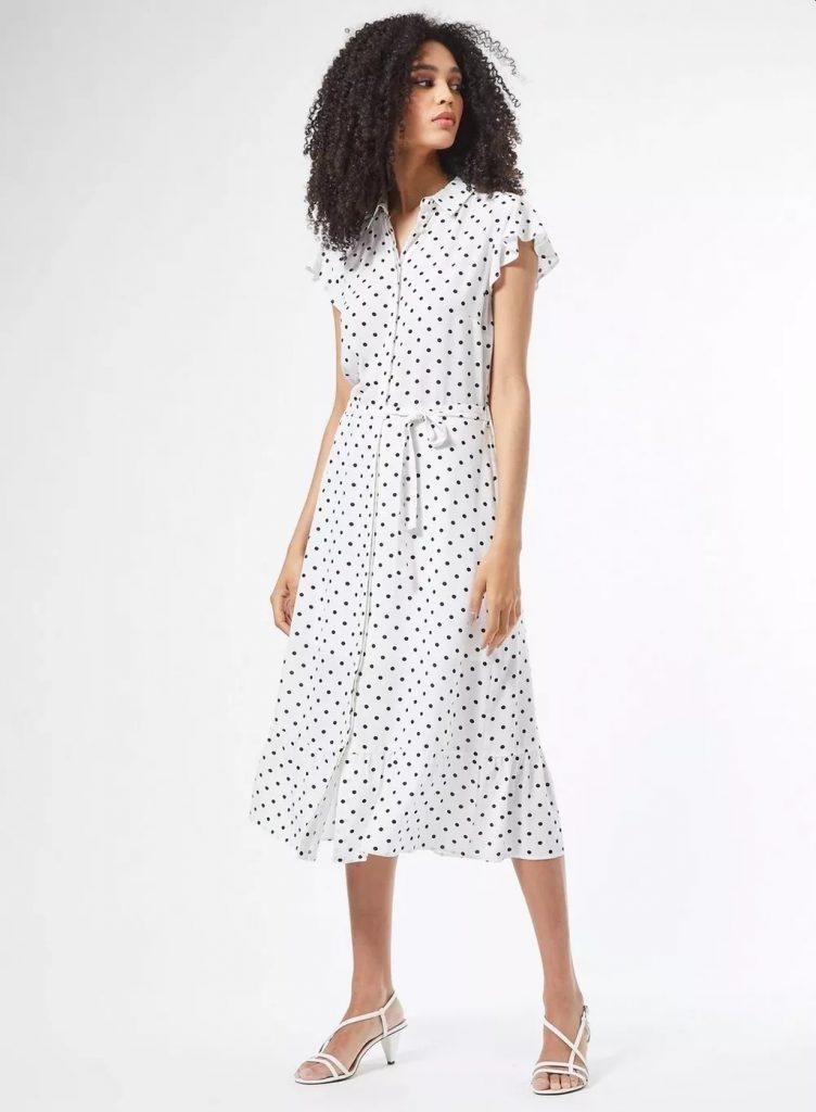 rochie alba cu buline Dorothy Perkins